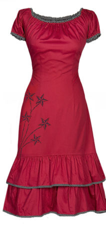 Red dress - made from organic cotton sateen with tie-strings in the back- waist can be adjusted to show off your beautiful curves