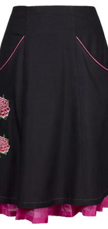 Feminine and comfortable skirt - The black and pink skirt has roses embroidered on it - colourful silk flounces