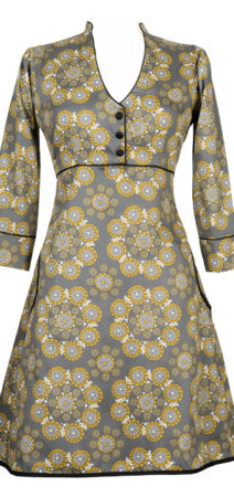 Grey and yellow dress made from organic cotton sateen - elasticated panel and sash ties at the back
