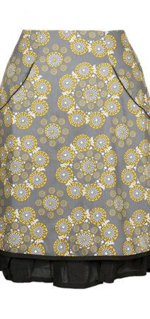 grå/gul blomstret nederdel