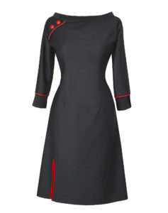 Black Red dress made of organic wool