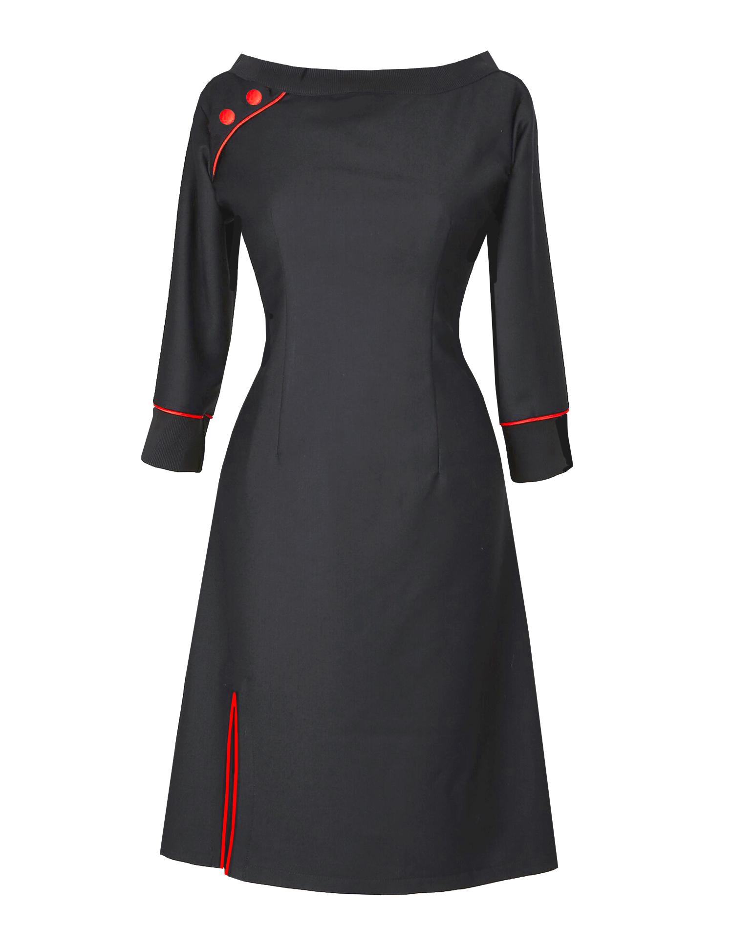 60daf879 Black Red dress made of organic wool