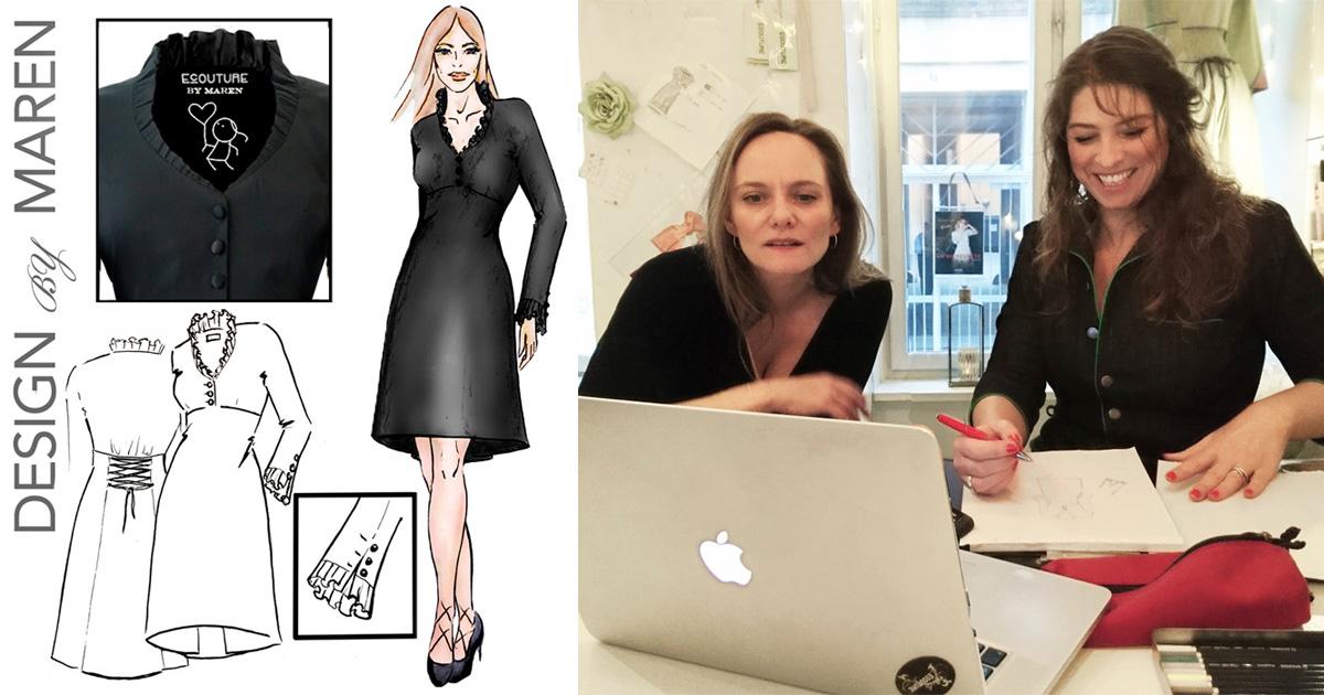 bffee0f3c61b Maren-kjolen er skabt i et designsamarbejde. Med sine flæser og smukke snit  er kjolen både elegant og dramatisk på en og samme tid.